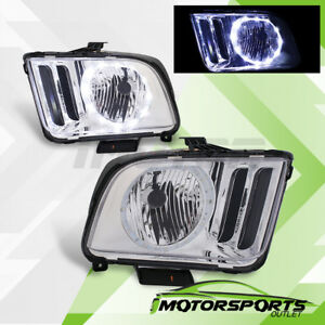led Halo 2005 2006 2007 2008 2009 Ford Mustang Chrome Factory Style Headlights