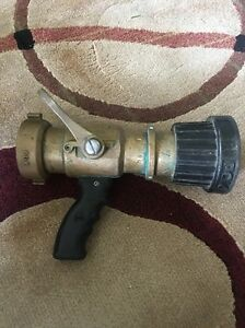Used Pok Bronze 250 Gpm 2 5 Inlet Fire Hose Nozzle