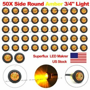 50x Mini Amber 3 4 Round Side Truck Led Marker Trailer Bullet License Lamps Us