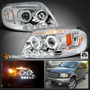 Fits 1997 2003 Ford F150 Expedition Led Strip Halo Projector Headlights Lamps