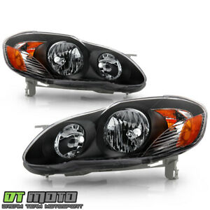 For Black 2003 2008 Toyota Corolla Replacement Headlights Headlamps Left Right