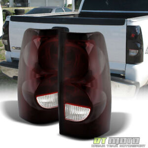 Red Smoked 2003 2006 Chevy Silverado Replacement Aftermarket Tail Lights Lamps