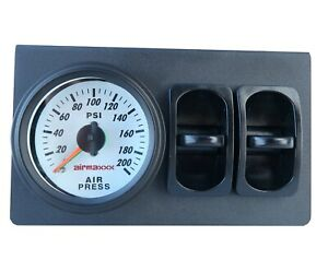 Air Ride Dual Needle Air Gauge White Face 200psi Panel 2 Paddle Switches