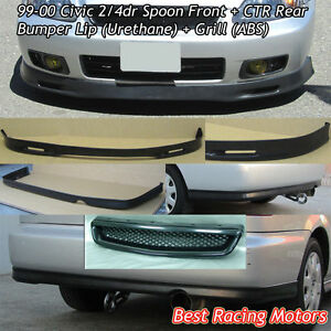 Spn Style Front Lip Pu Ctr Rear Lip Pu Grill Abs Fit 99 00 Civic 2dr