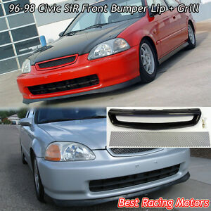 Sir Style Front Bumper Lip Pu Tr Style Grill Mesh Fit 96 98 Civic 4dr