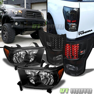 For Black 2007 2013 Toyota Tundra Headlights Led Tail Lamp Left right 07 13