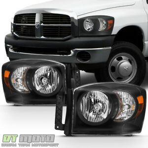 Black 2007 2008 Dodge Ram 1500 07 09 2500 3500 Headlights Left Right Replacement