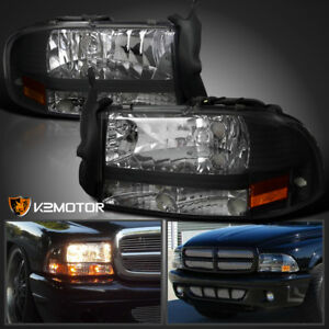 97 04 Dodge Dakota durango Black 1pc Style Front Headlights Left right