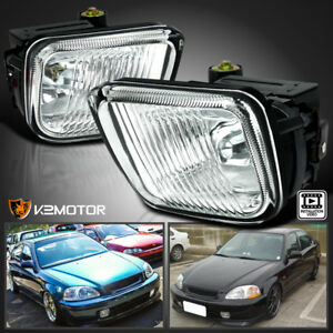 For Honda 96 98 Civic Clear Bumper Fog Lights Clear Lens Lamps Switch