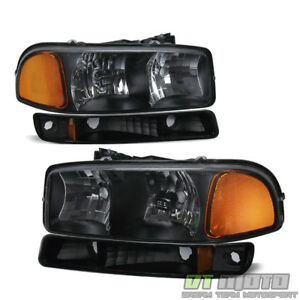 1999 2006 Gmc Sierra Yukon Black Headlights Bumper Signal Lights Left Right Set