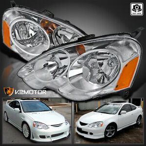For 2002 2004 Acura Rsx Dc5 Clear Headlights Lamps Left Right Pair Replacement