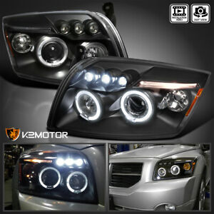 For 2007 2012 Dodge Caliber Led Halo Projector Headlights Head Lamps Black Pair