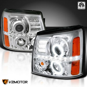 For 2002 2006 Cadillac Escalade Led Halo Clear Projector Headlights Left Right