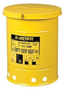 Oily Waste Can 6 Gal steel yellow Justrite 09111