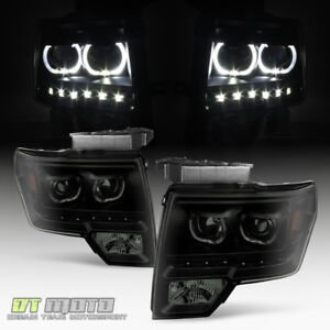 Black Smoke 2009 2014 Ford F150 Smd Led Halo Projector Headlights 09 14 Pair Set