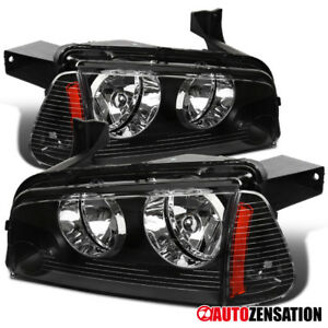 06 10 Dodge Charger Black Clear Headlights Corner Lamps W Amber Reflector Pair