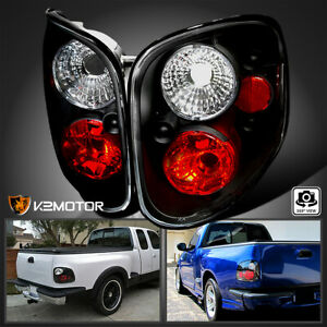 For 1997 2004 Ford F150 Flareside Tail Lights Black Brake Lamps Replacement Pair