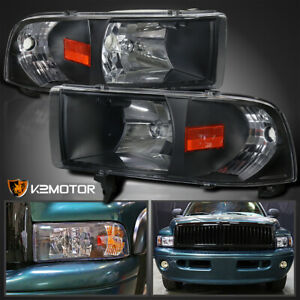 94 01 Dodge Ram 1500 2500 3500 Crystal Black Headlights Pair Left right