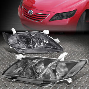 For 2007 2009 Toyota Camry Smoked Housing Clear Corner Projector Headlight lamp