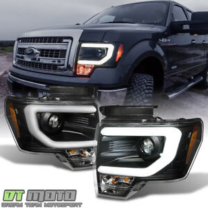 Black 2009 2014 Ford F150 Raptor Svt Led Tube Drl Projector Headlights Headlamps
