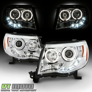 For 2005 2011 Toyota Tacoma Runner Led Drl Halo Projector Headlights Left Right