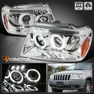 1999 2004 Jeep Grand Cherokee Led Halo Projector Headlights Pair