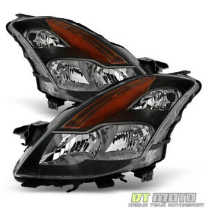 Black Headlamps For 2008 2009 Altima 2dr Coupe Halogen Headlights Set Left right