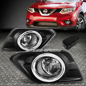 For 14 16 Nissan Rogue Clear Lens Oe Driving Pair Fog Light Lamp switch bezel