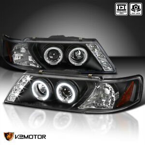 Black For 95 99 Nissan Sentra 200sx Led Halo Projector Headlights Left Right