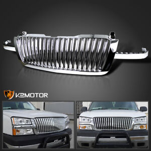 2003 2005 Chevy Silverado 1500 2500 3500 Chrome Vertical Front Hood Grille