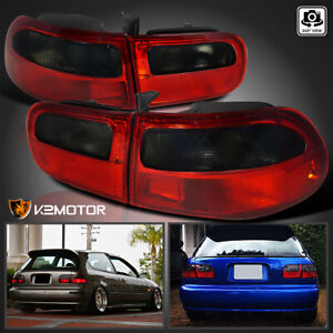For 92 95 Honda Civic 3dr Hatchback Eg Eh Ej Red smoke Rear Brake Tail Lights