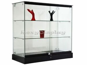 Black Glass Display With Black Base Case Knocked Down Showcase gs36b sc