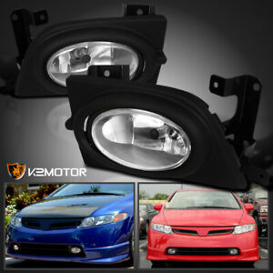 For 2006 2008 Honda Civic 4dr Si Bumper Fog Lights Switch Kit