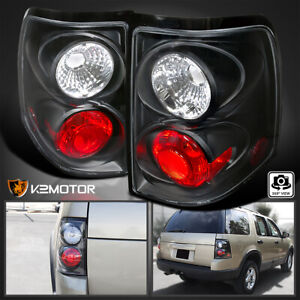 2002 2005 Ford Explorer Tail Rear Brake Lights Lamps Black Pair Replacement