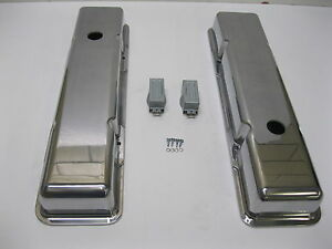 V8 Chevy Short Smooth Polished Aluminum Valve Covers 283 305 350 383 400 Vintage