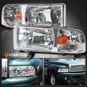 1994 2001 Dodge Ram 1500 2500 3500 1pc Crystal Headlights Head Lamps Left Right