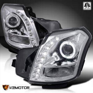 For 2003 2007 Cadillac Cts Cts V Halo Clear Projector Headlights Smd Led Strip