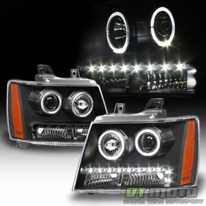 Black 2007 2013 Chevy Suburban Tahoe Avalanche Led Drl Halo Projector Headlights