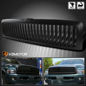 For 1994 2001 Dodge Ram 1500 2500 3500 Matte Black Bumper Hood Vertical Grille