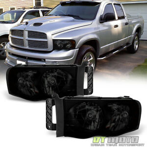 Black Smoke 2002 2005 Dodge Ram 1500 2500 3500 Headlights Headlamps Left Right