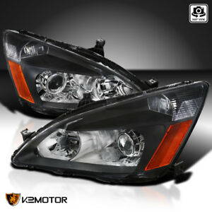 For 2003 2007 Honda Accord Replacement Retro Black Projector Headlights Lamps