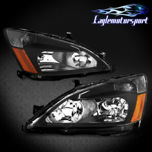2003 2004 2005 2006 2007 Honda Accord Factory Style Black Headlights Lamps Pair