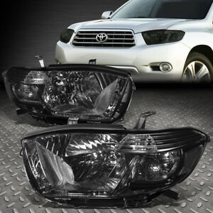 For 2008 2010 Toyota Highlander Pair Smoked Housing Clear Corner Headlight Lamps