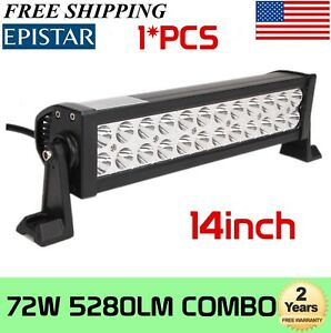14 Inch 72w Light Bar 24leds Led Work Flood Spot Suv Truck Suv 4wd Offroad Lamp