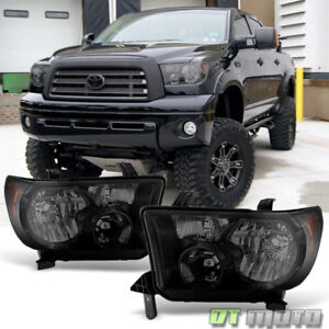 For 2007 2013 Toyota Tundra 08 17 Sequoia Blk Smoke Headlights Lamps Left Right