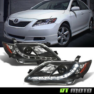 For Black 2007 2009 Toyota Camry Projector Headlights W led Daytime Running Lamp