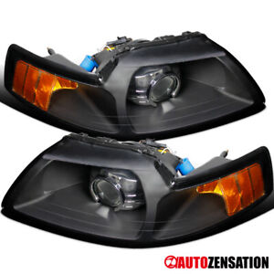 99 04 Ford Mustang New Retrofit Black Amber Projector Headlights