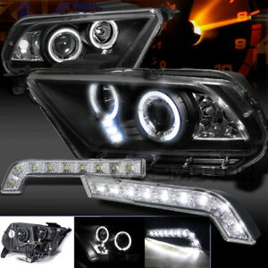 Mustang Gt 10 14 Halo Pro Projector Headlights Black drl Smd Led Bumper Lamps