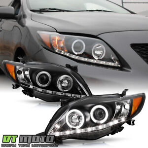 For Black 2009 2010 Toyota Corolla Led Projector Halo Headlights Lamp Left right
