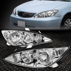 For 2005 2006 Toyota Camry Pair Chrome Housing Clear Corner Headlight lamp Set